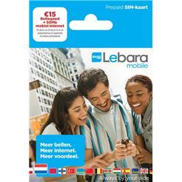 Lebara Prepaid Simkaart €15 + 50 Mb Internet