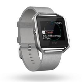 Fitbit Blaze Polsband Leather Mist Grey L