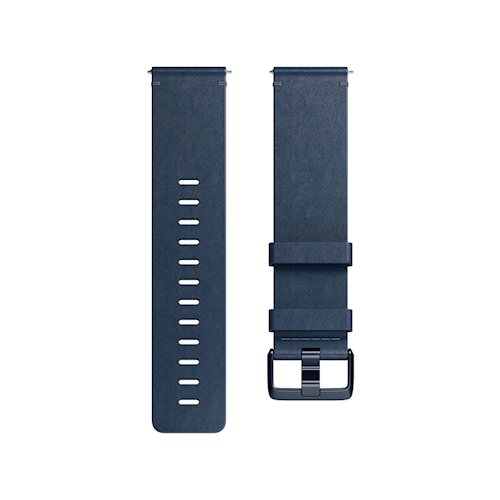 Fitbit Versa leren polsband maat Large (Blauw)