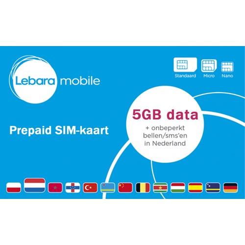 Lebara prepaidkaart 5GB Startkaart