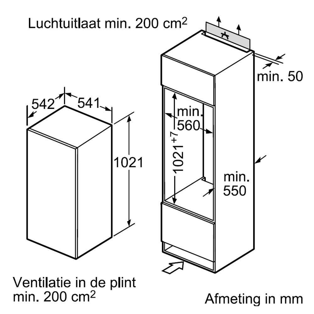 Siemens koelkast (inbouw) KI20RV60   bcc nl