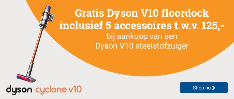 Dyson V10 Gratis floordock t.w.v. 125,-